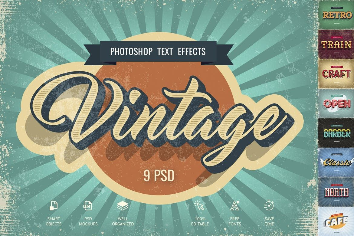 Vintage Text Effects By Sko4 On Envato Elements Vintage Text Text Effects Photoshop Text Effects