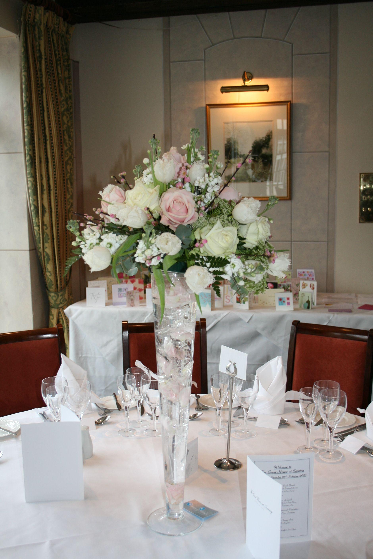 Pale pink and cream trumpet vase flower arrangement for weddings pale pink and cream trumpet vase flower arrangement for weddings reviewsmspy