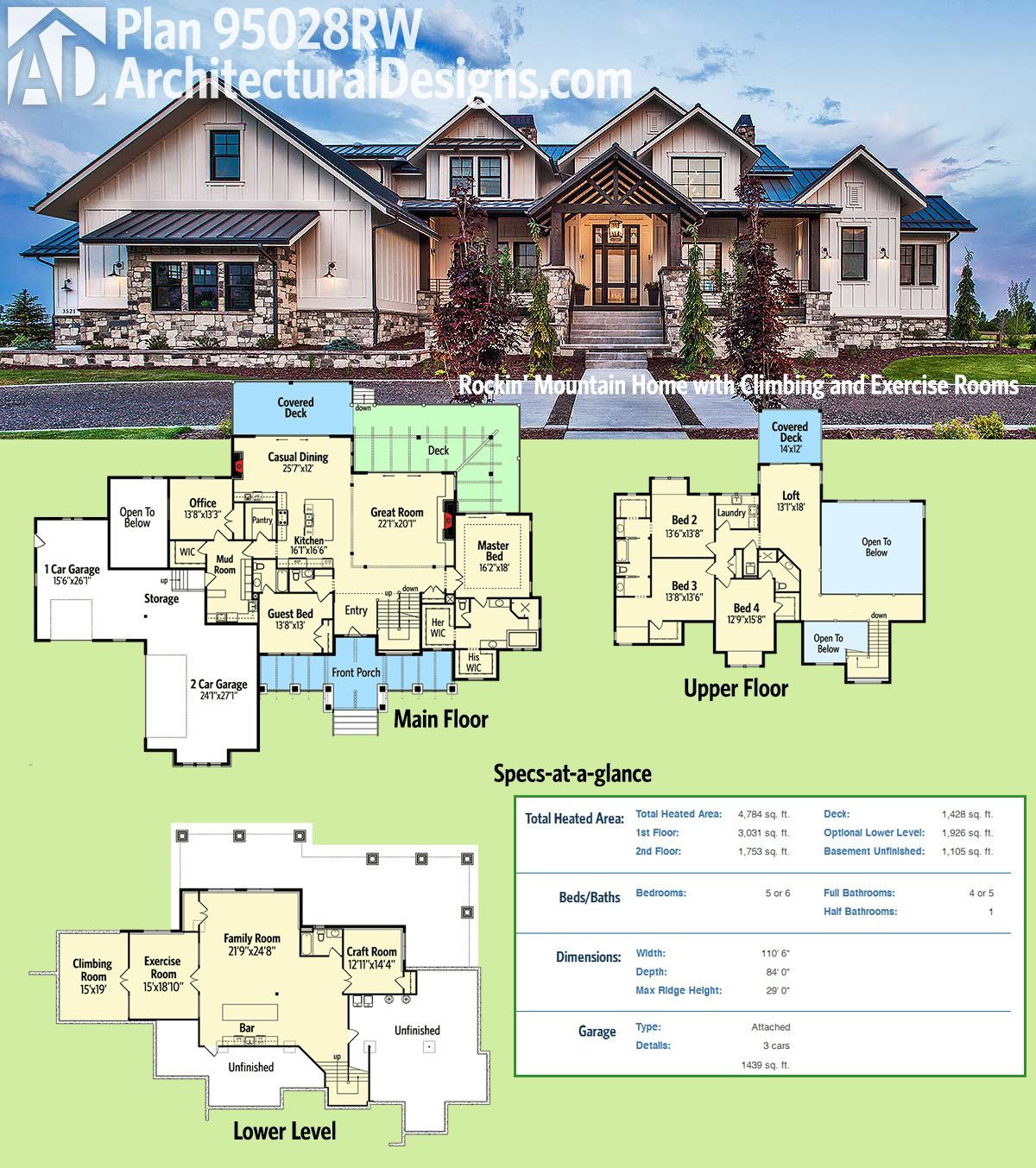 Plan 95028rw rockin 39 mountain home with climbing and for One story mountain house plans
