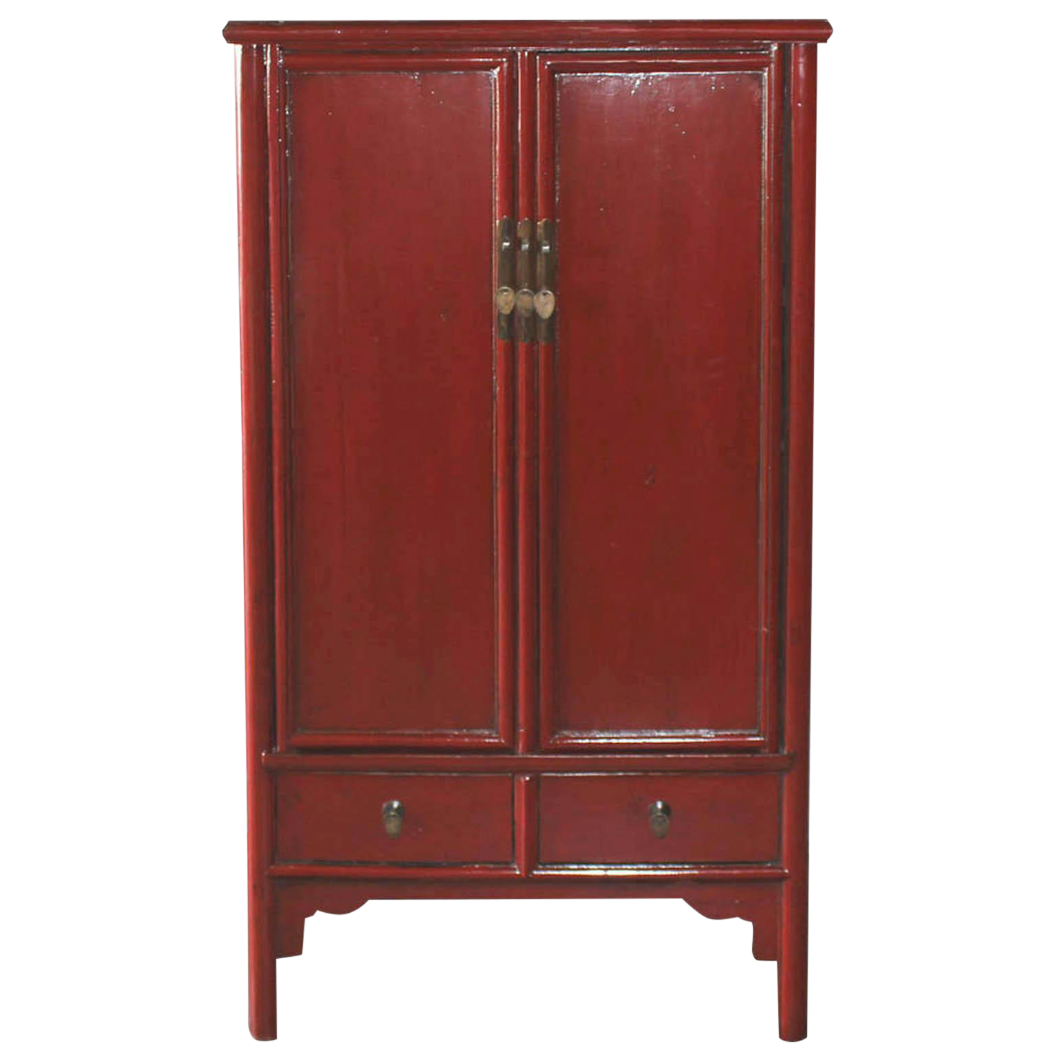 Vintage Chinese Red Lacquer Armoire Wardrobe Chest | Armoire ...