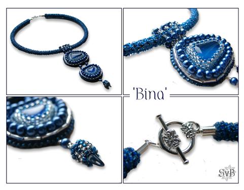 Bead embroidery pendant with beadwork necklace Bina -