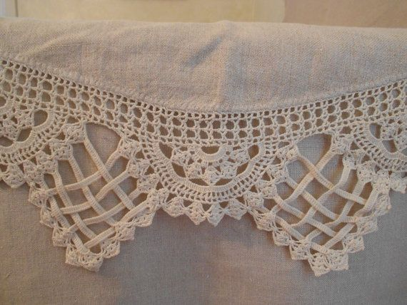 Vintage Homespun Linen Dresser Scarf With Unique Crocheted Border