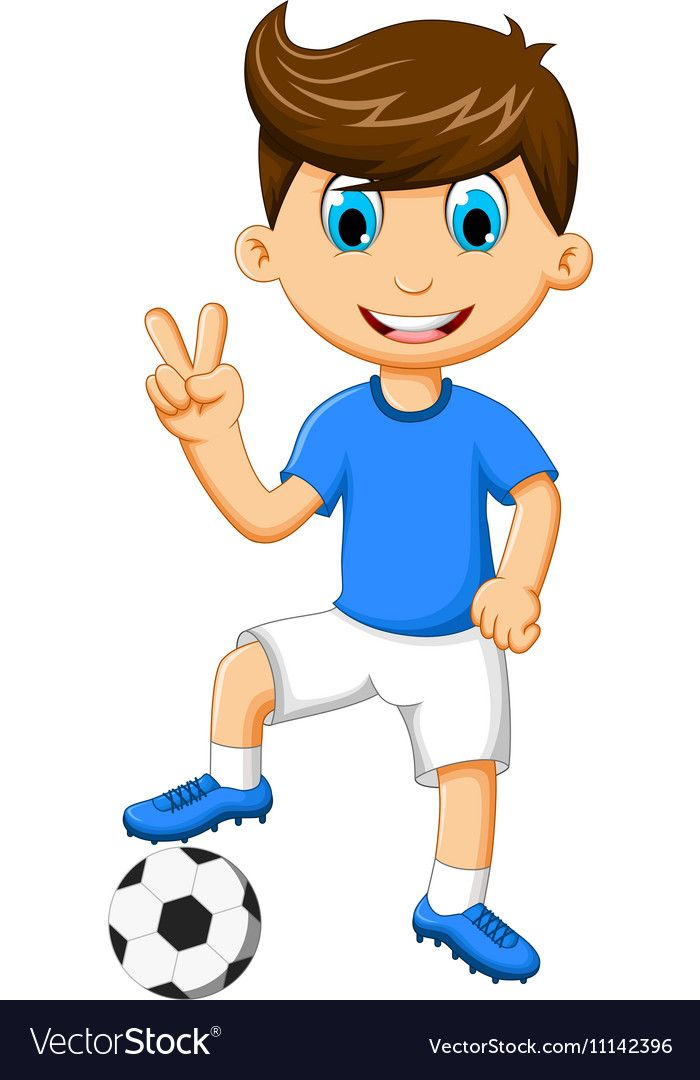 Vector Illustration Of Funny Boy Cartoon Peace With Football Download A Free Preview Or Hi Kids Cartoon Characters Cute Cartoon Pictures Art Drawings For Kids
