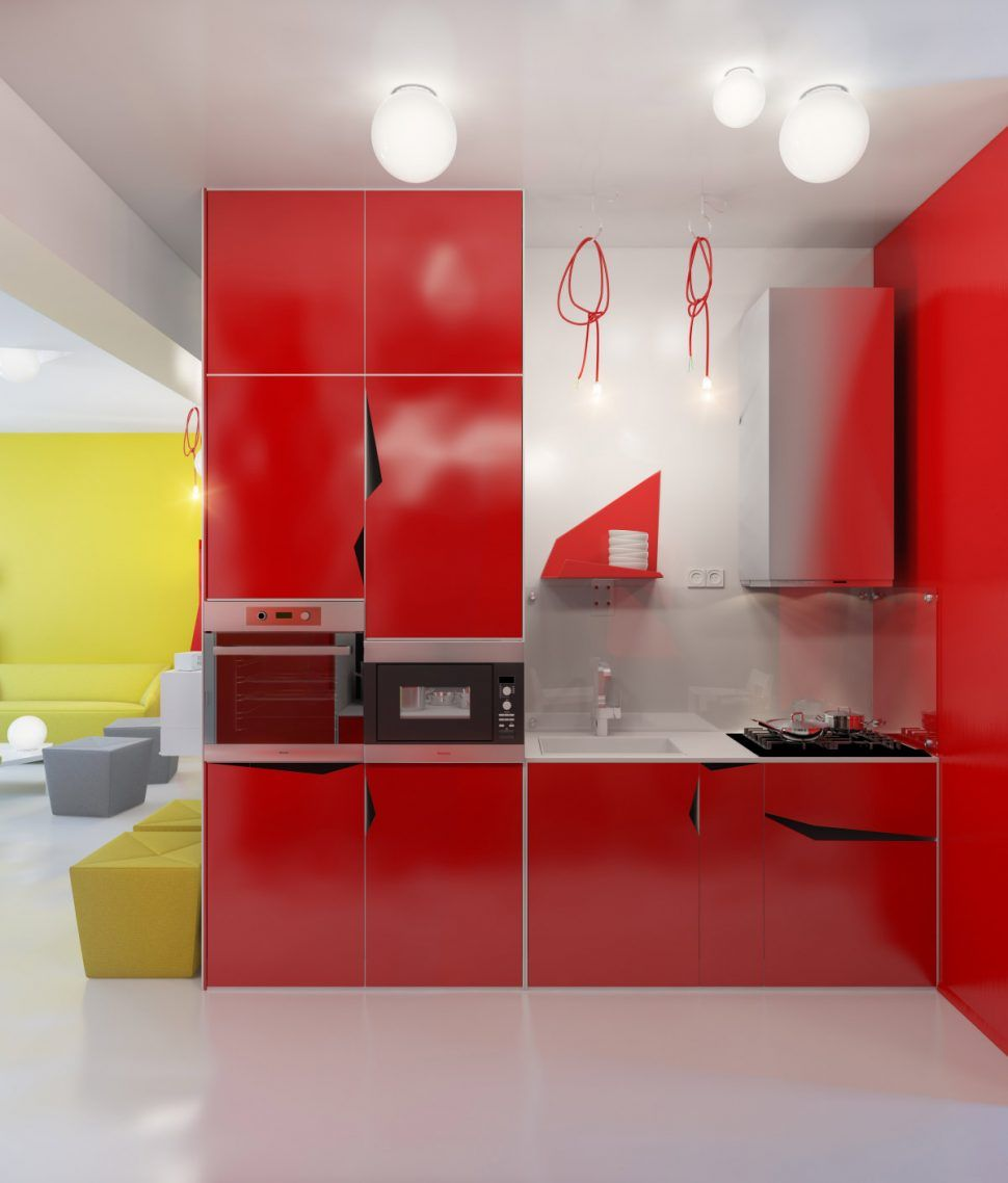 Apartment:Awesome Small Apartment Kitchen Design With Yellow Red Color  Combination Apartment Kitchen Decorating Ideas