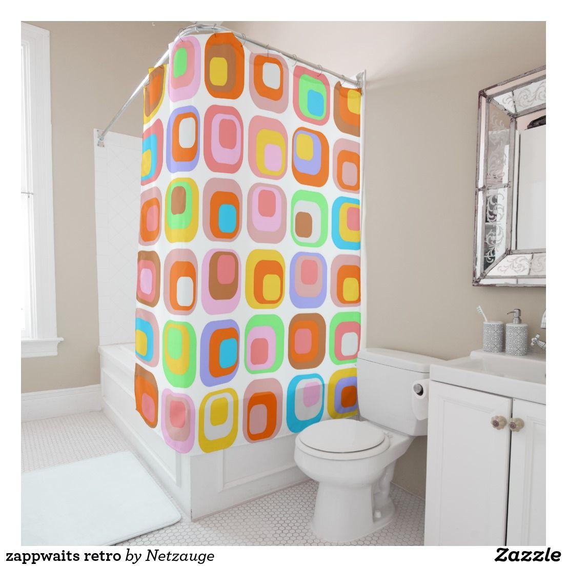 Zappwaits Retro Duschvorhang Zazzle De Retro Shower Curtain