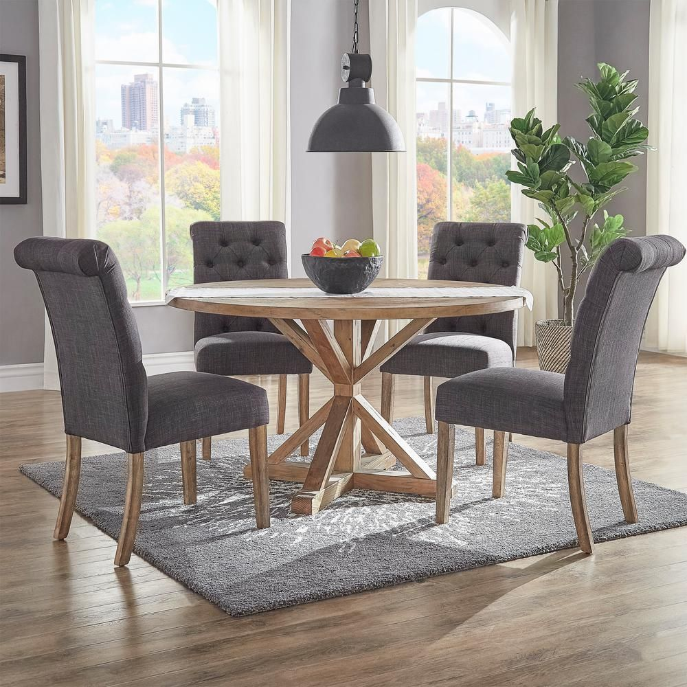 Leather Tufted Dining Chair Covers Black Homesullivan Huntington Dark Grey Linen Button Set Of 2
