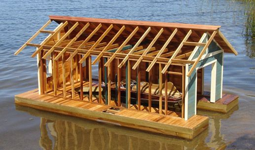 Andre M Poineau Woodworker Inc Floating Boathouse Lakefront
