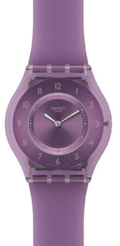 Swatch Purple Softness Ladies Watch SFV107 Swatch. $84.53. 34mm Case Diameter. Mineral Crystal. 30 Meters / 100 Feet / 3 ATM Water Resistant. Quartz Movement. Skin Collection. Save 23% Off!