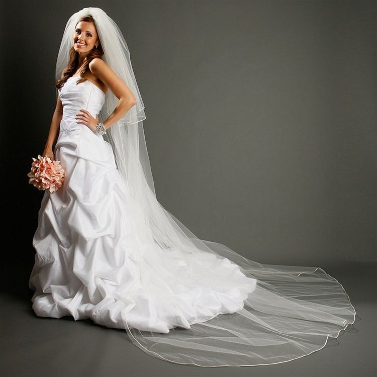 My Sparklers Jewelry Two Layer Dramatic Cathedral Length Cut Edge Wedding Veil