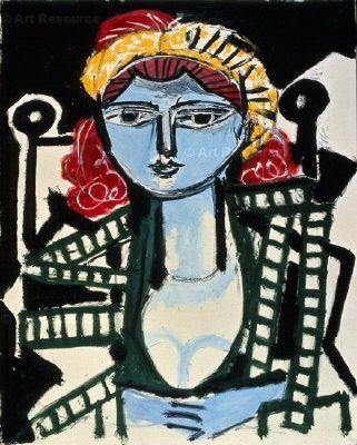 Pablo Picasso Portrait de femme à la robe vert jaune, 1954 | Picasso ...