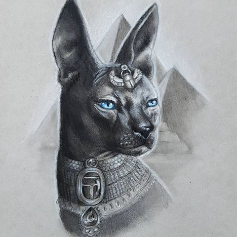 Strict Black Blue Eyed Egyptian Cat On Pyramid Bakground Tattoo Design Egypt Tattoo Egyptian Cats Egyptian Cat Tattoos