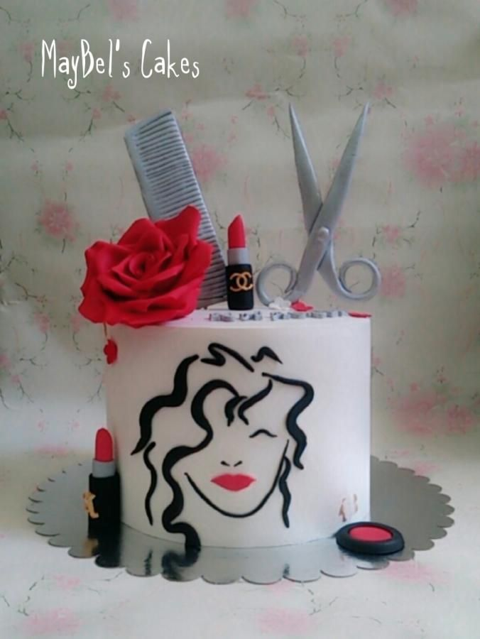 Miraculous Hair Stylist Cake Cake By Maybel Kapper Taart Taart Cakes Funny Birthday Cards Online Overcheapnameinfo