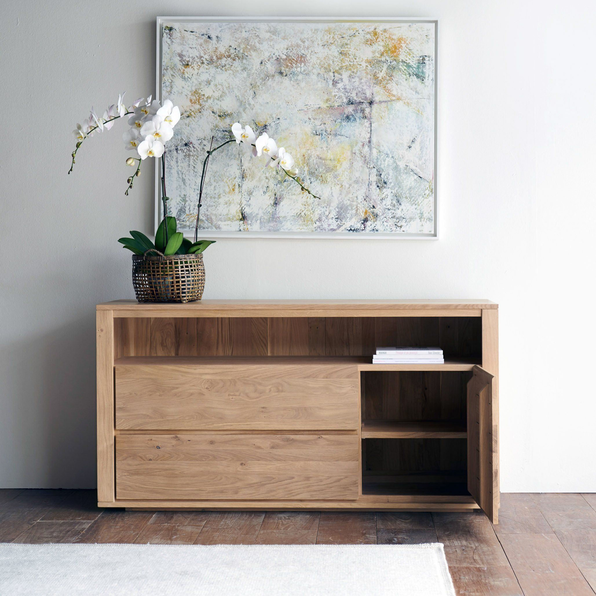 Oak chest of drawers shadow door drawers home decor
