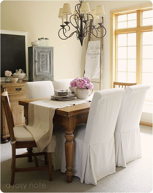 Awesome White Parsons Chairs + Farmhouse Table