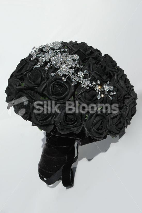 Blake Artificial Black Rose Bridal Bouquet With Crystal Brooches Pins