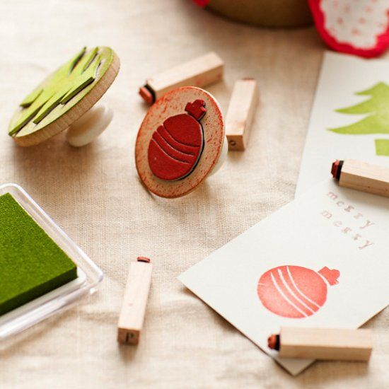Make your own holiday stamp. Perfect for stamping gift tags to gift wrap!