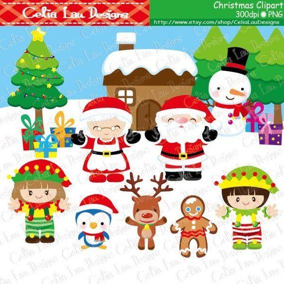 Santa Clipart Elf Penguin Gingerbread Snowman Reindeer Christmas