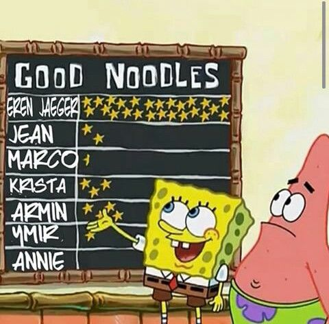 #aot x #spongebob. ARE YOU A GOOD NOODLE??!!!? hahah marco( why am I laughing?)