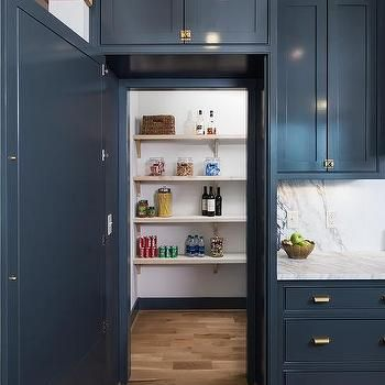 Turquoise Blue Kitchen Pantry With Labeled Food Bins Transitional Kitchen Pantry Design Kitchen Pantry Cabinets Kitchen Cabinet Colors