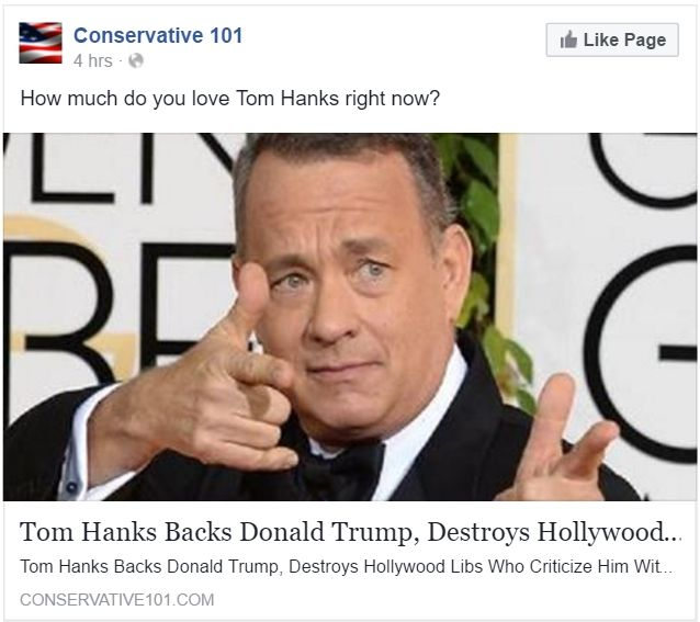 FALSE: Tom Hanks Backs Donald Trump for President | TRUMP ...