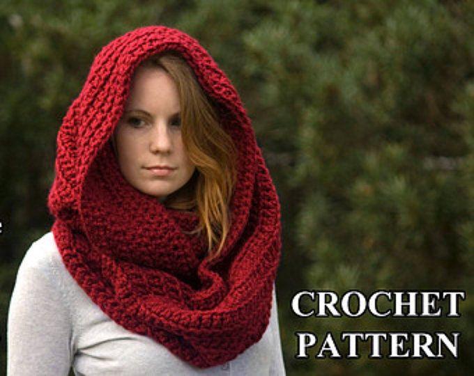 Crochet Pattern Hooded Scarf Pattern Crochet Scoodie Instant Hoods
