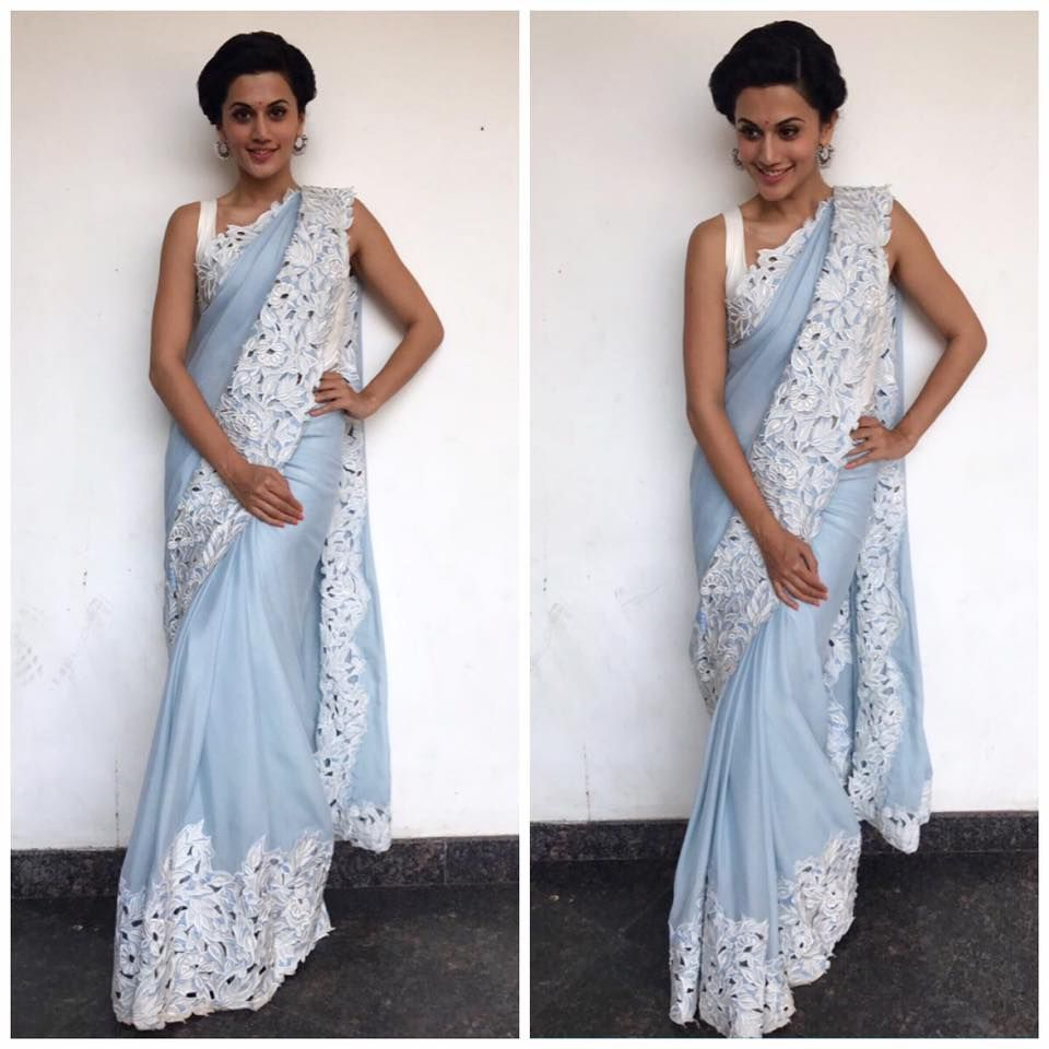 Taapsee Pannu looks gorgeous in our powder blue sari with floral cutwork detailing for her recent appearance.
