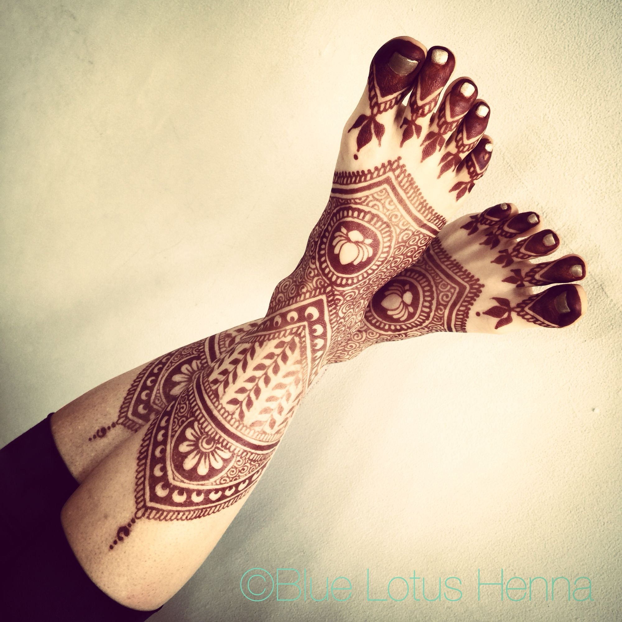 Blue Henna Tattoo: Feet Casually Up The Wall...by Blue Lotus Henna.