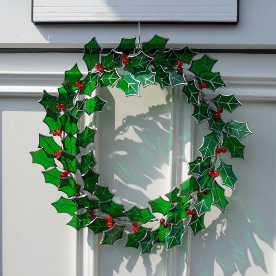 ≈ Christmas Stained Glass Holly Wreath ≈
