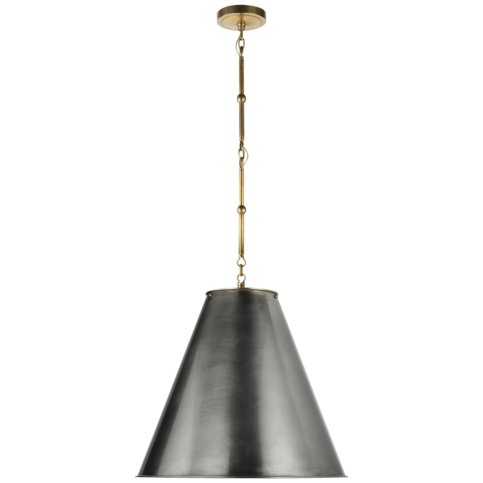 Goodman Medium Hanging Light In Hand Rubbed Antique Brass With Bronze Shade Pendant By Circa