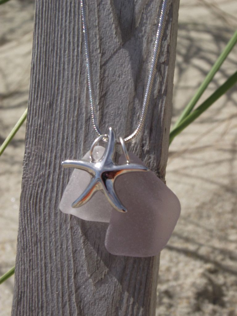 Extremely Rare Lavendar & White Sea Glass with Starfish Pendant