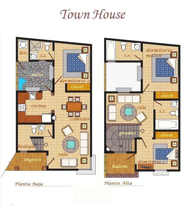 planos de casas Townhouse  Buscar con Google  Casa para la familia en 2019  Town house floor plan House floor plans y Townhouse