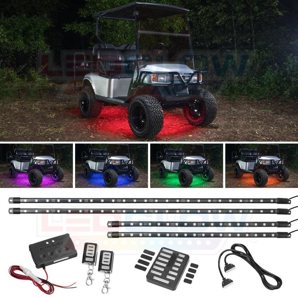 Multicolor Lightning Pods Kit for Underglow Off Road Truck JEEP UTV ATV SUV Auto Scroll Modes Patent Pending Design Z-Force Xprite 4pc RGB LED Rock Lights with Wireless Remote Control Flashing