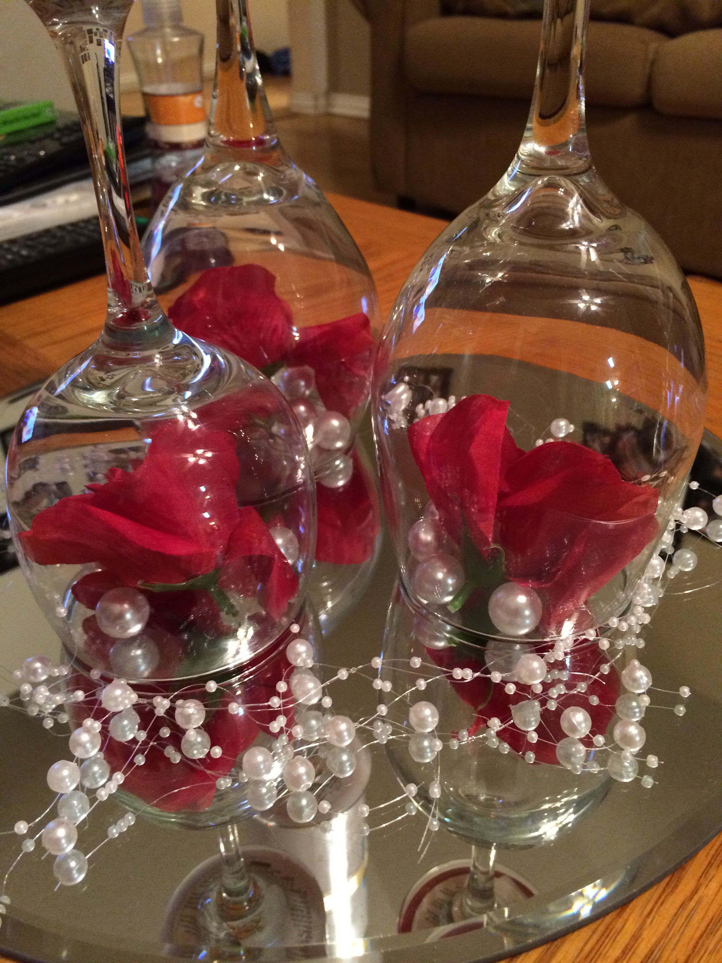Pearl Themed Wedding Centerpiece Upside Down Wine Glasses Candles Flowers Wine Glass Centerpieces Glass Wedding Centerpieces Pearl Centerpiece
