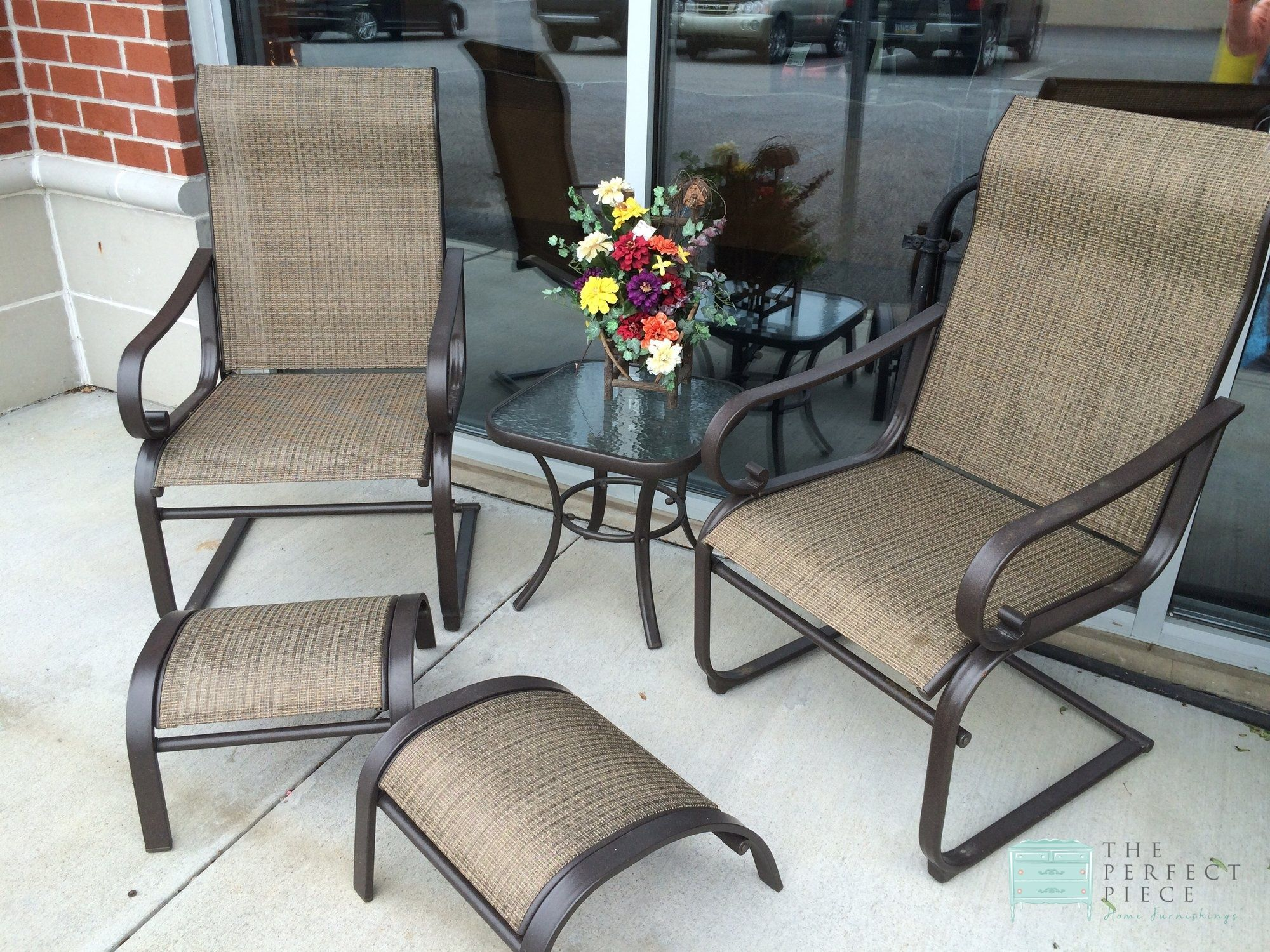 This Summer Winds Patio Set Includes 2 Chairs 2 Footstools And An Accent Table The S Patio Furniture For Sale Patio Furniture Covers Aluminum Patio Furniture