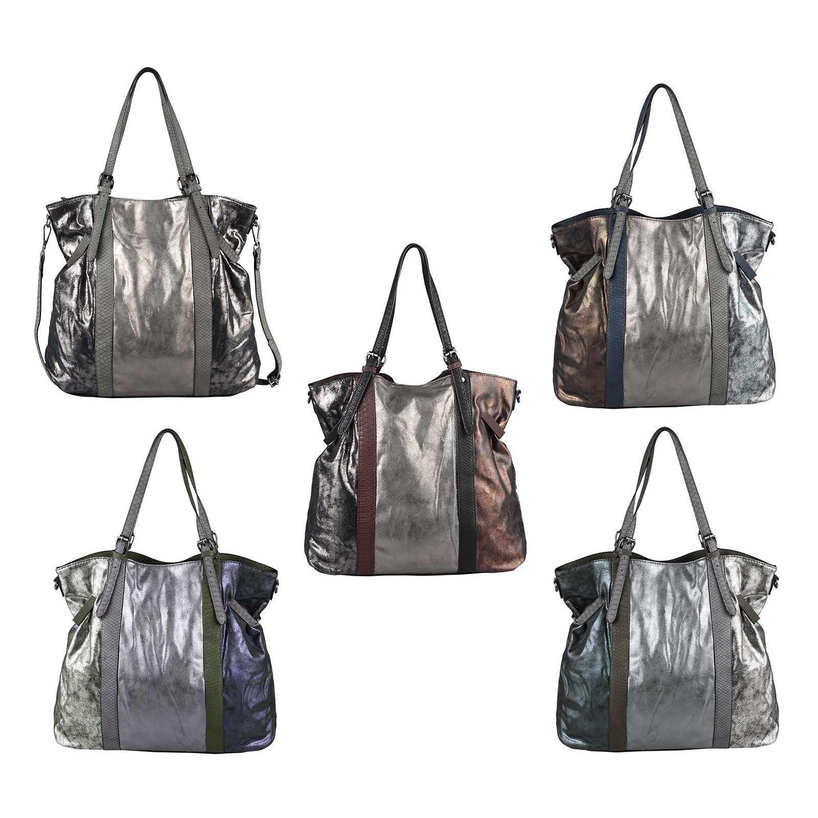 OBC BOLSO DE MANO PARA MUJER Shopper Hobo Bag Bolso de hombro Bolso de hombro Bolso con asa Bolso de cubo METALLIC Silver