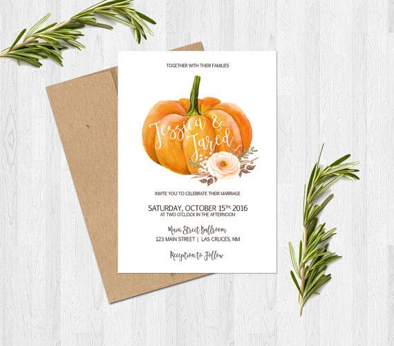 Pumpkin Wedding Invitation Fall Autumn by SweetTeaAndACactus