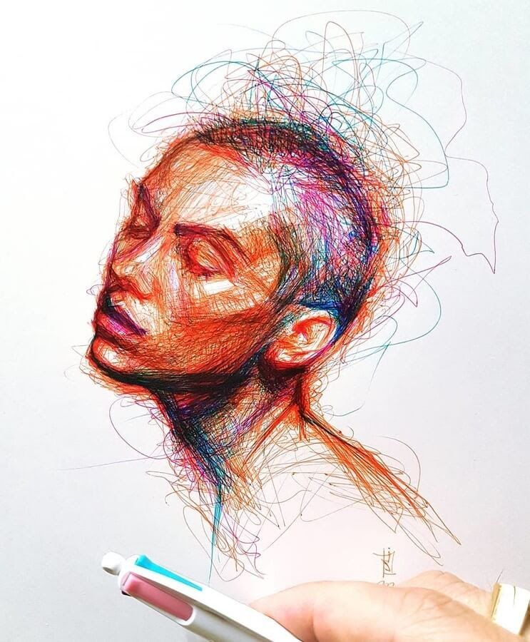 Scribble Color Pen Portraits in 2020 | Scribble drawings ...