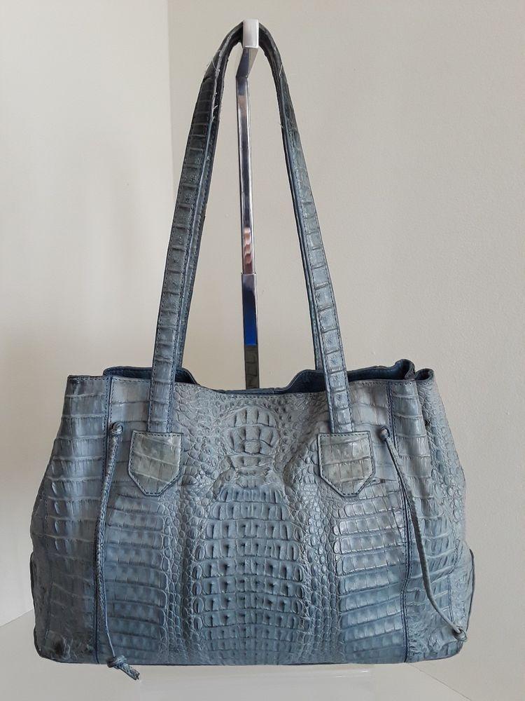 Eileen Kramer Blue Crocodile Alligator Leather Tote Shoulder Bag Purse Clothing Shoes Accessories Women S Handbags Bags Purses Ebay