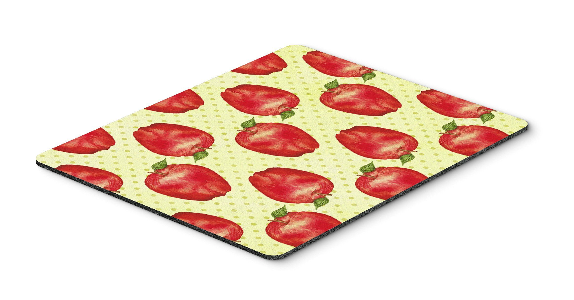 Watercolor Apples and Polkadots Mouse Pad, Hot Pad or