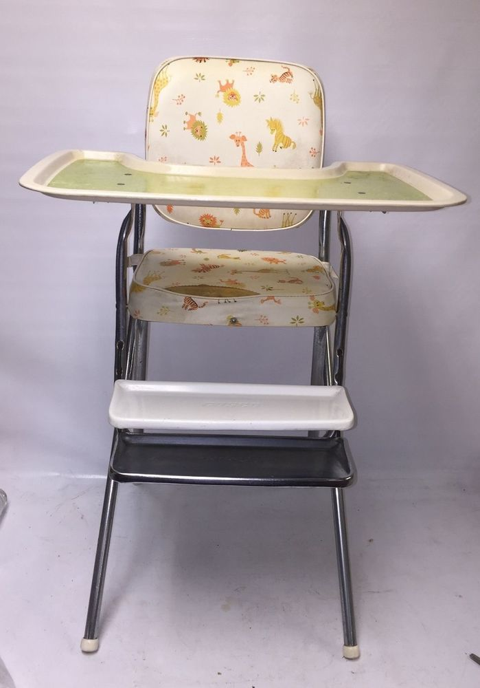 Vinyl And Metal Vintage High Chair W Tray And Footrest Animal Pattern Cosco Ebay Vinyl And Metal Vintage H Vintage High Chairs Baby High Chair High Chair