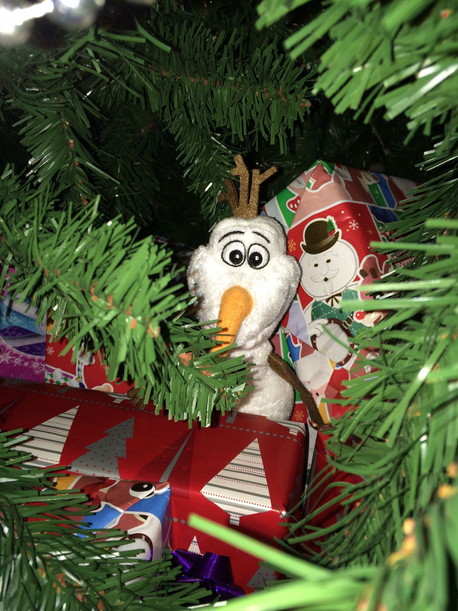 Day 10 Olaf is hiding under the tree with presents. Took the kids most of the morning and ...