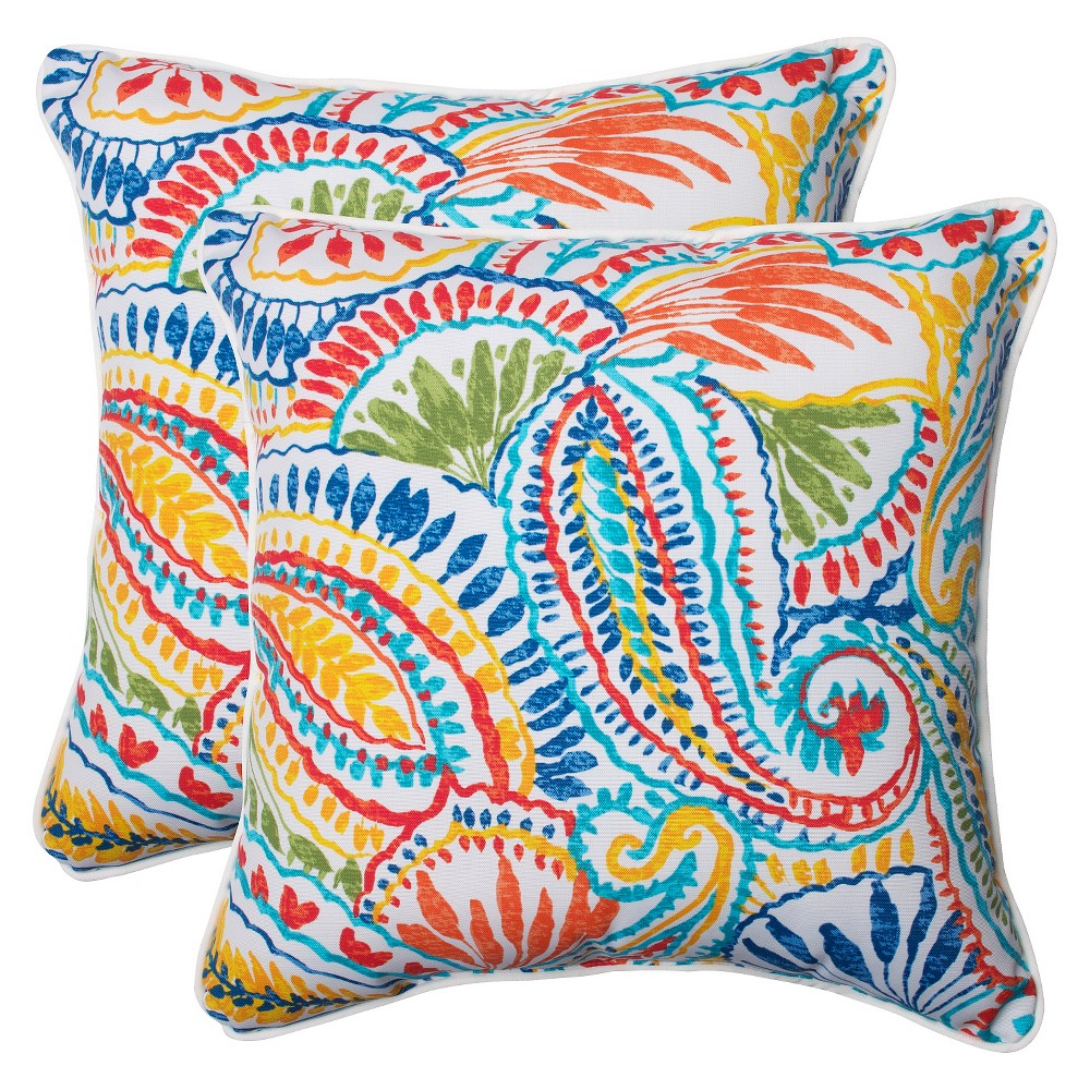 Pillow Perfect Ummi Outdoor 2-Piece Square Throw Pillow Set - Multicolored