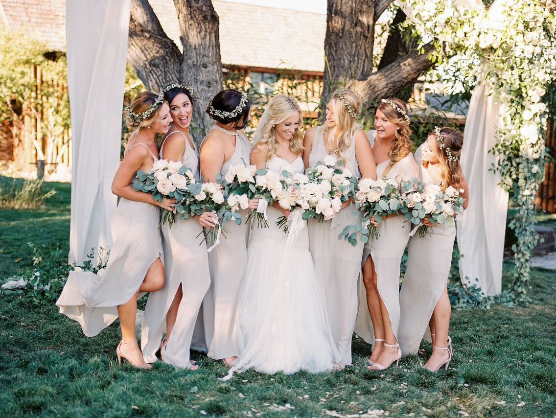 Neutral Bridesmaids Dresses With Floral Crowns Spruce