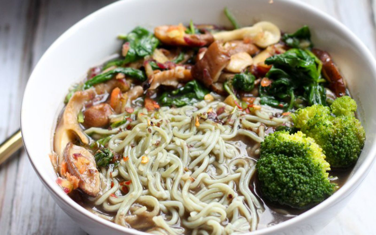 <p>This savory noodle soup is chock-full of fresh vegetables and mushrooms, with no short supply of noodles. This ten-minute meal is exactly what you need on chilly days! </p>
