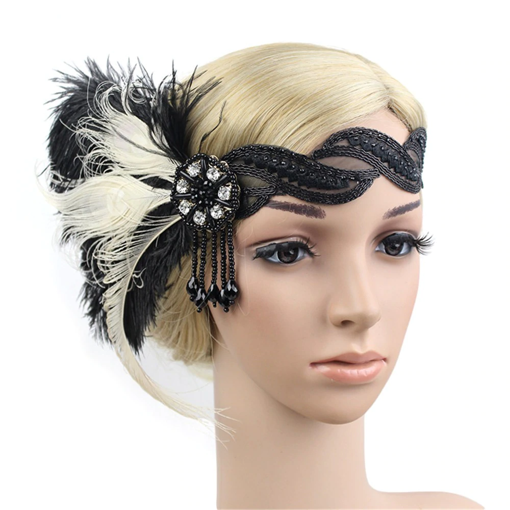 Headdress Feather Flapper Women Headband Costume Accessories Vintage 1920s Prom