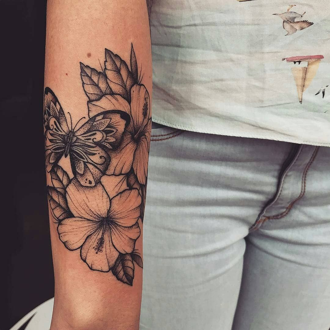 Butterflies And Flowers Tattoo Butterflies And Flowers Tattoo Coloring Pages Tattoos Leg Tattoos Hibiscus Tattoo