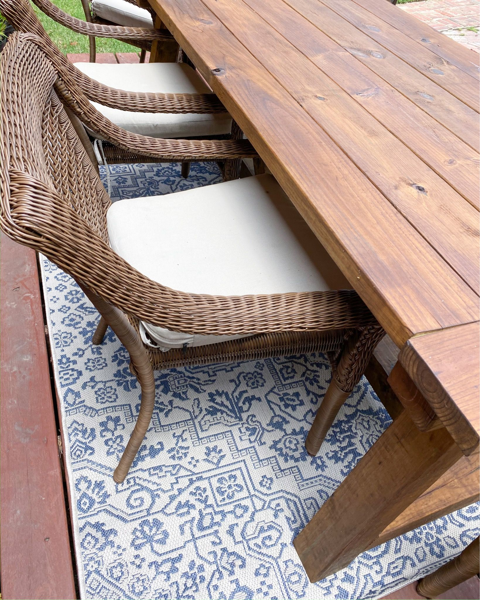 Farmhouse Style Patio Table Outdoor Rug Under 75 Exact Item Linked In 2020 Rug Under Dining Table Outdoor Rugs Patio Dining Table