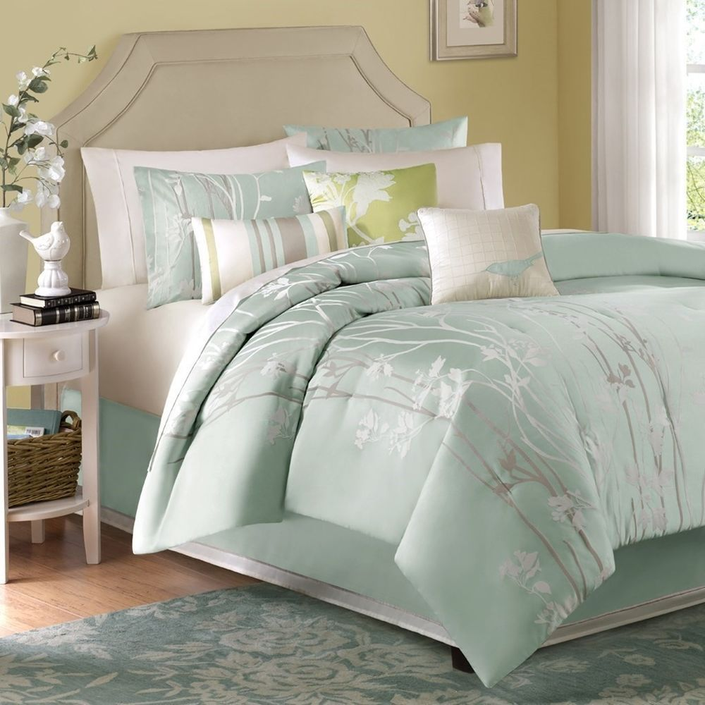 Luxury 7pc Sea Mist Green Floral Jacquard Comforter Set