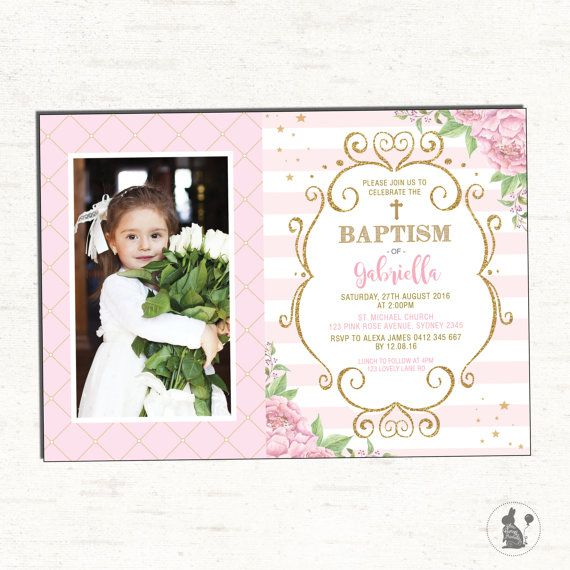 Baptism Invitation Girl Pink And Gold Floral Christening - First birthday invitations girl pink and gold