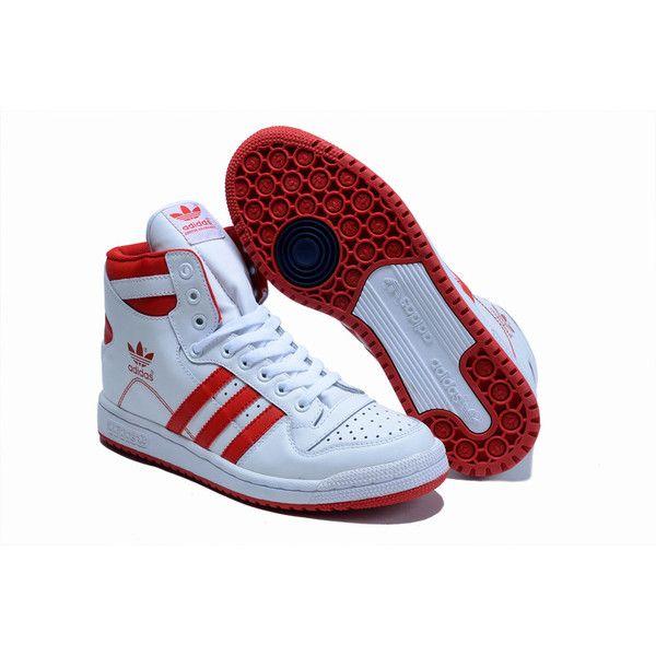 a0da5ba007e5e6 High Grade Adidas Decade High Top Winter Shoes Women Men White Red... via  Polyvore featuring men s fashion